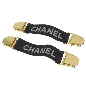 CHANEL Chanel Logo Vintage Arm Garter Belt Armband Black Gold 20181214