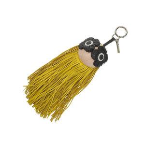 FENDI Fendi fringe flower yellow pink black bag charm strap used 20190606
