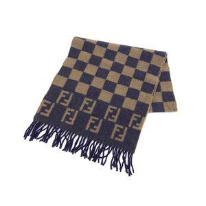 FENDI Fendi Zucca Pattern Block Check Muffler Wool Beige Blue Used 20190607