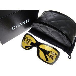 CHANEL Chanel Cocomark Sunglasses Eyewear Black Gold Used 20190606