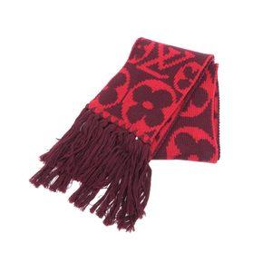 LOUIS VUITTON Louis Vuitton Escharp Grand Floor Monogram Scarf Wool Ruby Red M72430 used 20190607