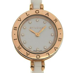 BVLGARI B Zero One ZERO-1 Bangle Type Ladies Quartz Watch PG / Ceramic 12P Diamond BZP23SG