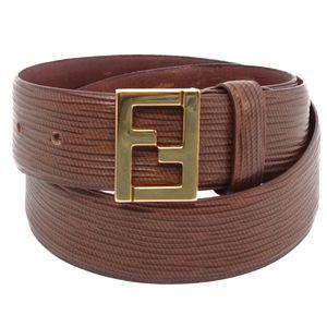 Vintage Fendi FENDI Made in Italy Logo Buckle Leather Belt 42 Brown Ladies
