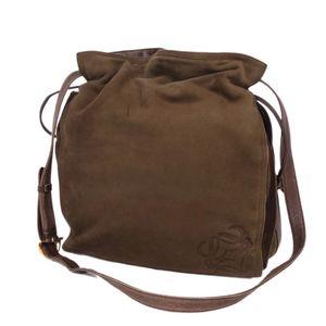 Loewe LOEWE Women's Diagonal Bridge Anagram Shoulder Bag Suede Leather Brown Ladies Genuine バ ッ グ