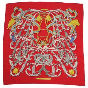 エルメス (Hermes) カレ90 LE MORS A LA CONETABLE (轡の気品) シルク スカーフ レッド