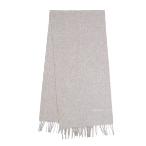 Chanel CHANEL Made in Italy 100% cashmere scarf with fringe Logo embroidered gray Women