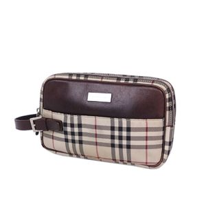 Burberry BURBERRY Check Clutch Bag Second Canvas Leather Agate Beige Brown Men's Women's