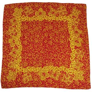 Vintage Chanel CHANEL Cocomark 100% Silk Large format Scarf made in Italy Ladies Red Gold