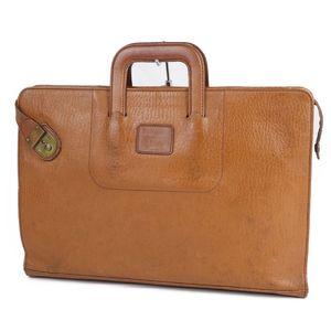 Vintage Burberry Burberrys All Leather Briefcase Business Bag Men's Back Check Camel