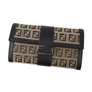 FENDI Women's Men's Folded Zucca Pattern Long Purse Coin Purses Canvas Leather Brown Wallet