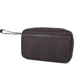 BURBERRY LONDON BURBERRY Haymarket Check Clutch Bag Second PVC Leather Brown