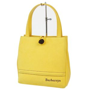 Vintage Burberry Burberrys Leather Handbags Ladies Back Horse Ferry Check Yellow Bags