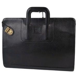 Vintage Burberry Burberrys All Leather Briefcase Handbag Business Bag Lined Check Men's Black