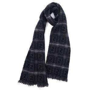 Fendi FENDI Made in Italy Zucca Pattern Wool Scarf Men's Women's Black Gray