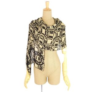 Chanel CHANEL Made in Italy Silk Stole Scarf All Pattern Ladies Black Beige
