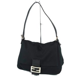 Fendi FENDI Made in Italy Mamma bucket Jersey material Shoulder semi shoulder bag Handbag Black Women's