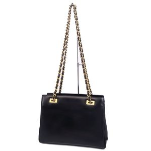 476ab9937 Vintage Old Gucci GUCCI Calf Leather Chain Shoulder Bag Black Gold Ladies  Italian