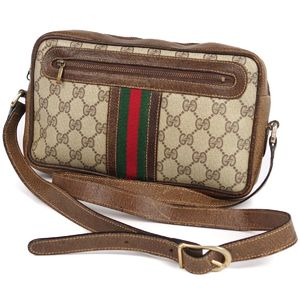 adc4cc450 Vintage Old Gucci GUCCI Made in Italy GG Pattern Shelly Line Leather  Shoulder Bag Ladies PVC