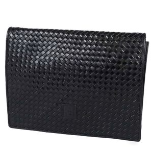 Vintage Fendi FENDI Braided Leather Clutch Bag Second Made in Italy Men's Women's Black Unisex