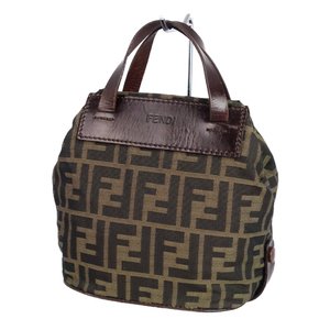 Vintage Fendi FENDI Made in Italy Zucca Pattern Mini Handbag Canvas Leather Bag 鞄 Khaki Brown Makeup Pouch Accessory