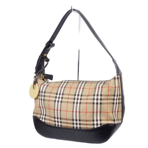 Burberry BURBERRY Ladies Horse Ferry Shoulder Bag Check Leather Canvas Beige Black Handbag Genuine Bags