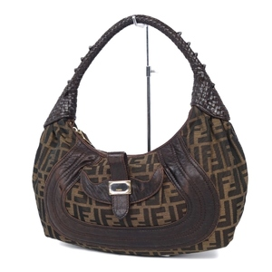 Fendi FENDI Italian Ladies Zucca Pattern Shoulder Bag Canvas Leather 鞄 Brown