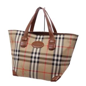 Vintage Burberry Burberrys Horse Ferry Check Handbag Canvas Leather Beige Brown Ladies Bag Agate