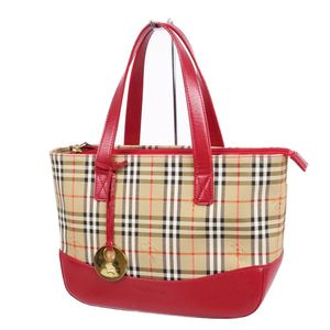 Vintage Burberry Burberrys Ladies Horse Ferry Check Leather Handbag Beige Red Bag Agate Genuine