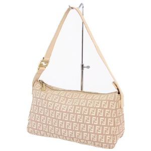 FENDI Zucca Handbag Semi-shoulder bag Made in Italy Canvas leather Beige women's