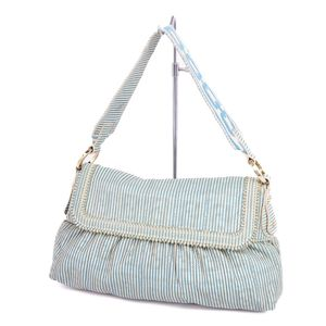 Fendi FENDI Zucca × Striped Leather Shoulder Bag Off White Blue Ladies Italian Semi