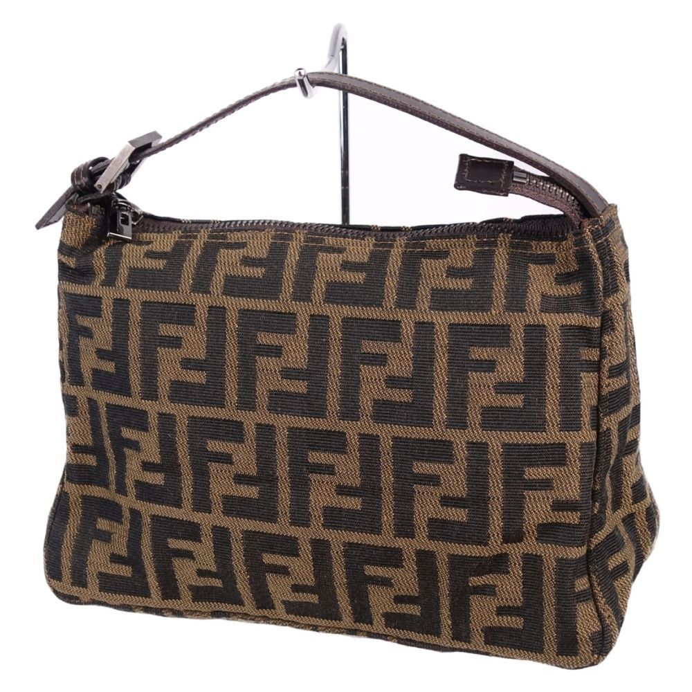 Fendi Made In Italy Las Zucca Pattern Mini Handbag Canvas Leather Brown Full Women S Bag Genuine Navy Elady
