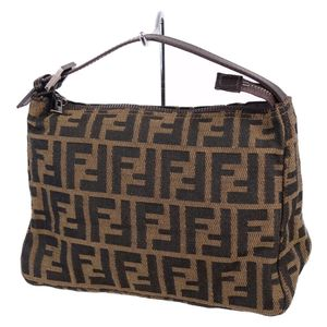 Fendi FENDI Made in Italy Ladies Zucca Pattern Mini Handbag Canvas Leather Brown Full Women's Bag Genuine Navy