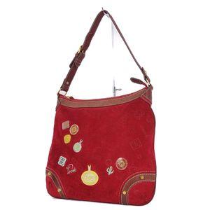 Loewe LOEWE 160th Anniversary ANIVERSARIO Suede Leather Shoulder Bag Red Ladies with Anagram Pin Badge