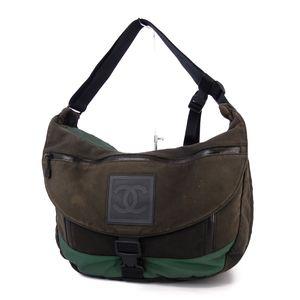 CHANEL Sports Line Made in Italy Cocomark Messenger Bag Shoulder Black Green Ladies Men's Allowed