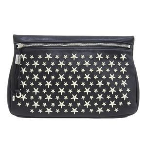 Jimmy Choo JIMMY CHOO Philippa Star Studs Clutch Bag Leather Black