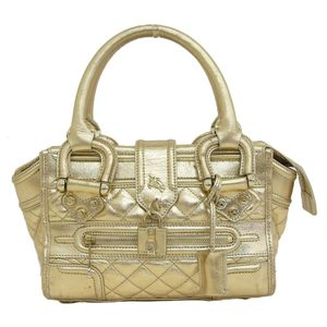 Burberry Prorsum Made in Italy Cadena Design Gold Handbag Leather
