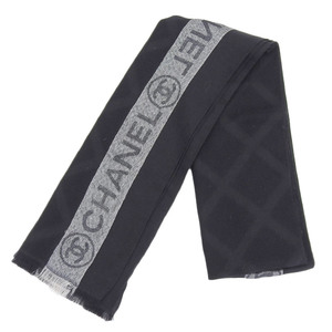 Chanel CHANEL Current Tag Cashmere Silk Lattice Logo Muffler Black