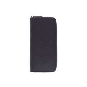 Louis Vuitton Damier Anfini Zippy Vertical Onyx N63548 Men's Genuine Leather Long Wallet AB Rank LOUIS VUITTON Used Ginzo