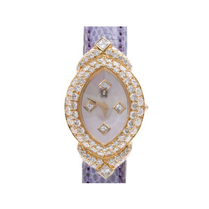 The Queen Ladies Watch Shell Dial Bezel Diamond YG / Leather Quartz AB Rank PARIS Used Ginzo
