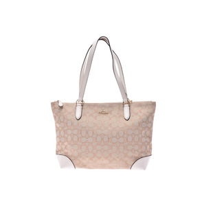 COACH Tote Bag Signature Beige / White Outlet F29958 Women's Canvas Leather Unused Beauty Product Used Ginzo