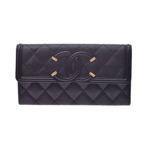 CHANEL MATRASE Long flap wallet Black Ladies caviar skin long