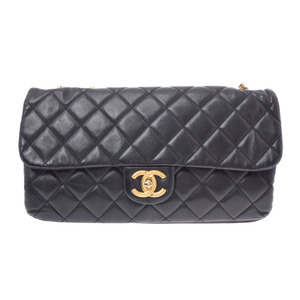 Chanel Matrasse Chain Shoulder Bag Black Vintage Bracket Women's Calf B-rank CHANEL Used Ginzo