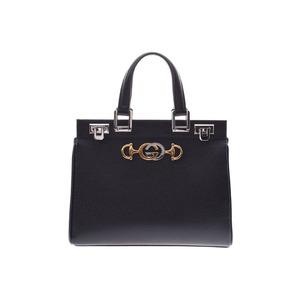 Gucci Zumi Small Top Handle Bag Black Comb Hardwares Women's Calf 2WAY