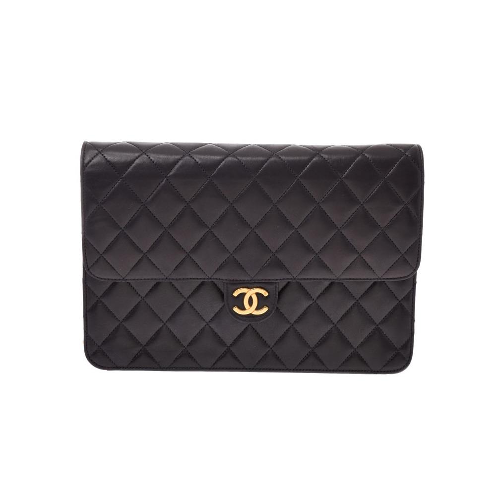 Chanel Matrasse Chain Shoulder Bag Push Lock Black G Bracket Women's Lambskin A Rank CHANEL Galla Used Ginzo