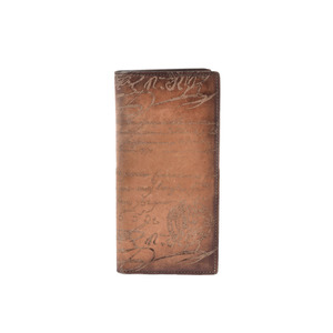 Berrutti Two-fold wallet Long calligraphy Calligraphy Tea Men's calf AB rank berluti Used Ginzo