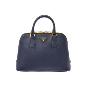 Prada 2WAY handbag 紺 G bracket BL0838 Womens Safiano A rank beauty goods PRADA Galla with strap Used Ginzo