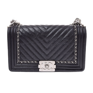 Chanel Boy Chain Shoulder Bag Black SV Brackets Women's Vintage Calf A Rank Beauty Product CHANEL Galla Used Ginzo