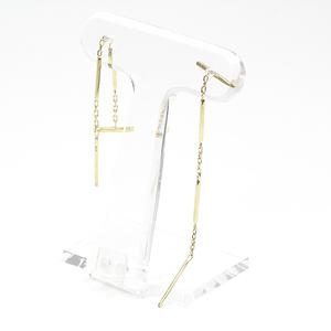 K18 Yellow Gold Long Earrings 5.7cm 1.1g American Swaying K18YG