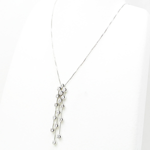 K18WG K14WG Diamond Design Necklace 46cm (Free Adjuster Adjustable) 0.80ct White Gold Finished