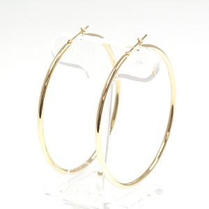 K18 Yellow Gold Hoop Earrings 5.0 cm in diameter 2 mm width 2.9 g YG
